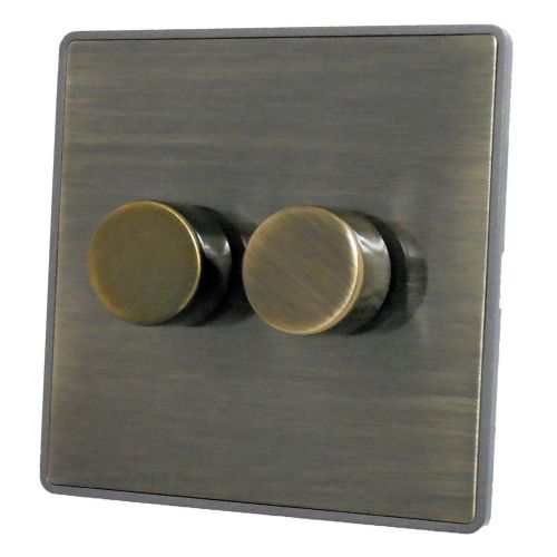 G&H LAB12 Screwless Antique Bronze 2 Gang 1 or 2 Way 400W Dimmer Switch